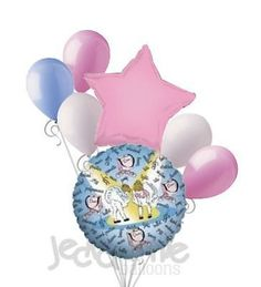 7 pc Little Ballerina Dancers Balloon Bouquet Decoration Party Pink Birthday