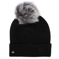 UGG Luxe Cuff Black Pom Pom Hat ($51) ❤ liked on Polyvore featuring accessories, hats, pompom hat, ugg hat, ugg and pom pom hat