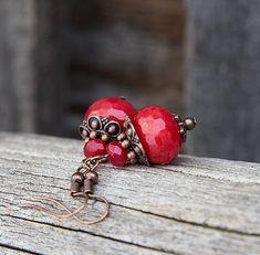 gabi111 / Červené jadeity - náušnice