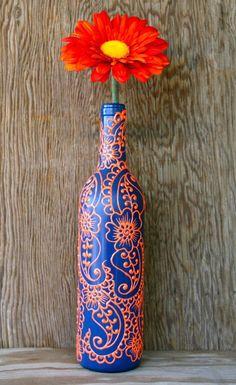 Hand Painted Wine bottle Vase, Up Cycled, Dark Blue and Bright Orange, Vibrant Henna style design
