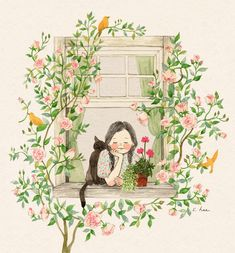 Cute Illustration, Watercolor Illustration, Watercolor Art, Cartoon Drawings, Cute Drawings, Whimsical Art, Cat Art, Bunt, Art Inspo