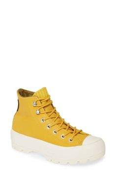 Converse Chuck Taylor All Star Gore-tex Waterproof Lugged High Top Sneaker In Gold Dart/ Olive Flak/ Egret Converse Style, New Converse, Converse Chuck Taylor All Star, Rockstud Pumps, Women's Pumps, Womens Fashion Sneakers, Womens Flats, Waterproof Sneakers, Platform Espadrille Sandals