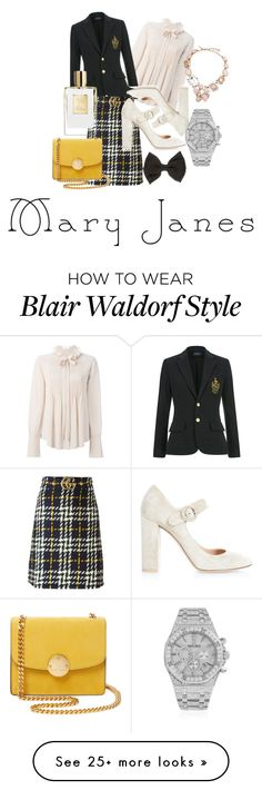"""Blair Waldorf style with mary janes shoes"" by ronjavinberg on Polyvore featuring Chloé, Gucci, Gianvito Rossi, Marc Jacobs, Audemars Piguet and Oscar de la Renta"