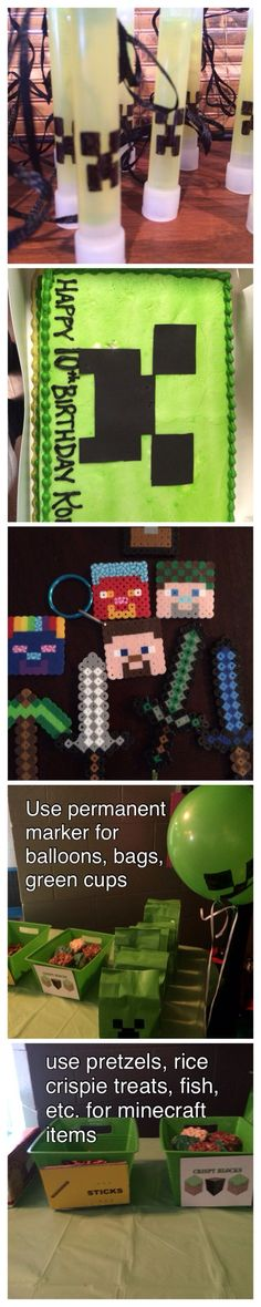 Minecraft Party Ideas: Use for favors and build your own favor bag (snacks) 9th Birthday Parties, Minecraft Birthday Party, Birthday Bash, Birthday Ideas, Geek Birthday, Cowboy Birthday, Princess Birthday, Mindcraft Party, Party Time