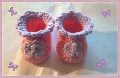 Butterfly Baby Booties Handmade Crochet Newborn to 3 months by HaldaneCreations on Etsy