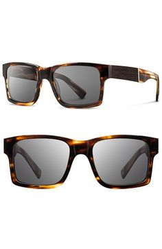 Men's Shwood 'Haystack' 52mm Wood Sunglasses - Tortoise/ Ebony/ Grey
