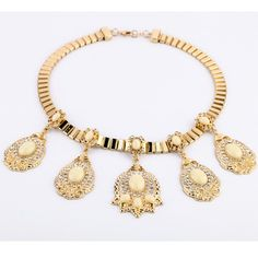 Fashion African Jewelry Gold Chunky Chain Necklace With Big Charms