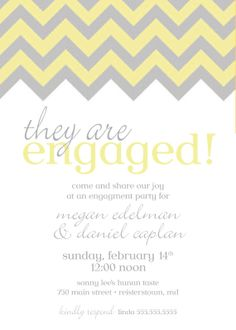 Chevron Engagement Party Invitation Grey by SimplySocialDesigns, $18.00  In Tiffany blue for our engagement party!