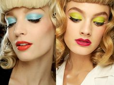 Aqua & chartreuse eyeshadow + Barbie brows + bright lipstick