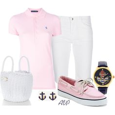 summer casual - pink polo, white capris, pink deck shoes, anchor earrings <3