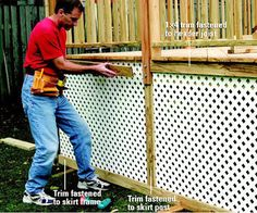 Add skirting for an attractive finishing touch to your two-level deck. Dyi Deck, Diy Pergola, Pergola Ideas, Gazebo, Porch Lattice, Under Deck Storage, Two Level Deck, Deck Skirting, Deck Posts