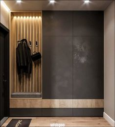 Idea for a narrow long corridor. Do you like dark color in . Idea for a narrow long corridor. Do you like dark color in …- Hall Wardrobe, Wardrobe Door Designs, Wardrobe Design Bedroom, Closet Designs, Foyer Design, Hallway Designs, Apartment Entrance, House Entrance, Hallway Furniture