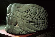 Serpent's head, Mexica (Aztec), Late Post-Classic (1325-1521 A.D.) - Mexico City. Volcanic tuff - National Museum of Anthropology, Mexico. Photo © Jorge Pérez de Lara