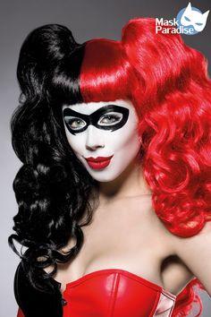 Harlequin Wig schwarz-rot 1-80027-021