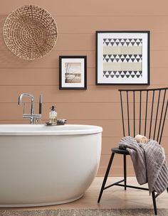Behr continues its theme of nature-inspired hues with tawny and raw Canyon Dusk. Use it on the walls in a bathroom to transform the space into a grounding sanctuary as beautiful as a Californian sunset. | Photographer: Courtesy of Behr Natural Paint Colors, Best Neutral Paint Colors, Trending Paint Colors, Behr Paint Colors, Bathroom Paint Colors, Interior Paint Colors, Calming Paint Colors, Interior Design, Yurts