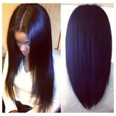Middle part Sew-In (tap for hair details)