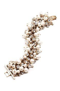 Danielle Stevens Jewelry  Faceted Glass Stone & Pearl Bracelet