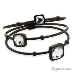 Three Row Black Tone Stainless Steel Bangle with Clear Faceted Glass W2604 | I Love Bracelets