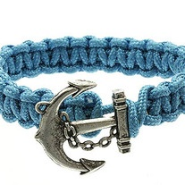 BRACELET / CORD / METAL / ANCHOR / 1 INCH TALL    TURQUOISE