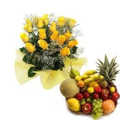 Bunch of 12 Yellow roses with Basket of fresh mix fruits. Flowers might arrive in bud/Semi bloom/fully bloom condition as per local availability . Birthday Flower Delivery, Flower Boutique, Mixed Fruit, Yellow Roses, Bloom, Basket, Fresh, Bud, Flowers
