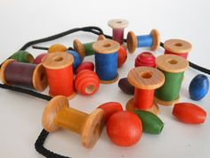 Rainbow Stringing Beads for toddlers and by terratreestudio, $12.00