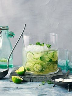 Refreshing drink with cucumber, mint & lime water