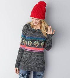 Charcoal AEO Snowflake Sweater