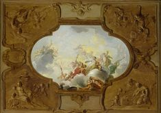 Design for a ceiling painting with the Apotheosis of Aeneas, in the corners the Four Seasons, Jacob de Wit, , c. 1720 - c. 1725