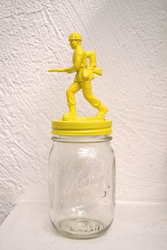 Funky bright yellow solider mason jar by ShopBlackMatter on Etsy Funky, paper weight, retro decor, mod, office, kids room, decorations, bright decor, colorful, kitschy, retro style, knick knack, bookshelf, $11.00
