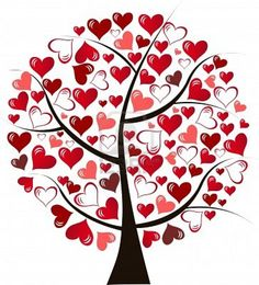 Illustration stylized love tree made of hearts - vector Stock Photo
