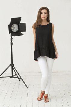 2f3826f9cb7077 Ruffled black linen top MALAGA. Black sleeveless linen top. Loose-fit linen  shirt with ruffles. Handmade