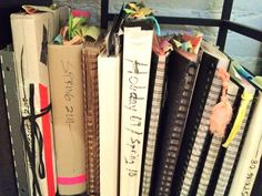 marissa's collection of inspiration journals and books