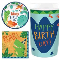 Dinosaur Birthday Themed Party Pack for 8   Fabulous Partyware Giant Dinosaur, Dinosaur Party, Dinosaur Birthday, Party Kit, Party Packs, Party Ideas, Girl Party Foods, Party Bag Toys, Farm Themed Party