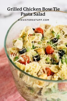 This grilled chicken bow tie pasta salad recipe is a perfect summer dinner for the family. It is light and refreshing, and filled with green bell peppers, olives, broccoli, and more!