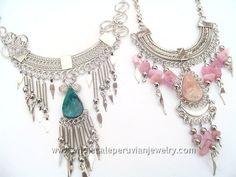 Semi-Precious Stones Alpaca Silver Inca Necklaceshttp://www.wholesaleperuvianjewelry.com
