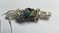Bismuth Crystal Wire Wrapped Pendant necklace blues green