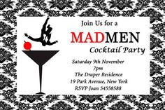 Mad Men Inspired Birthday Cocktail Party Event Invitation Personalized via Etsy