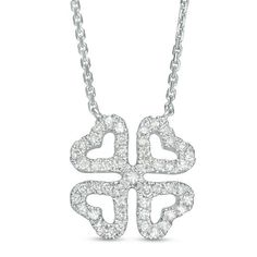 Zales Diamond Accent Clover Pendant in 10K White Gold b70js9E
