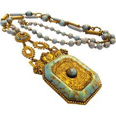 #Rubylane www.rubylane.com #vintage #vintagebeginshere Art Deco Czechoslovakian Peking Glass Necklace