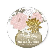 #rustic - #Mason Jar Flowers Rustic Floral Pink & Gold Chic Classic Round Sticker