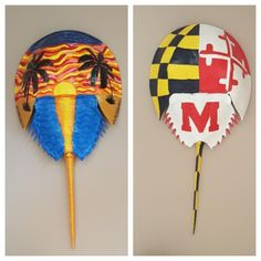 MD flag and sunset on horseshoe crab Horseshoe Crab, Stained Glass, Flag, Sunset, Crochet, Projects, Crafts, Painting, Log Projects