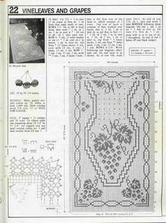 Crochê da Mag: Caminho de mesa uvas em crochê filé