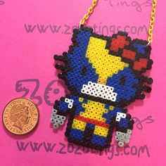 Wolverine Hello Kitty Perler  Necklace by ZoZoTings