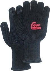 Thick, soft & warm black knit work & freezer gloves, black PVC grip dots on palm, extra long elasticized wrist, size large. Popular as freezer gloves for grocery workers. 100% acrylic.