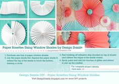 Paper Rosettes... Using paper shades.  How cute is this!!
