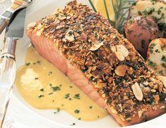 Almond-Crusted Salmon with Leek and Lemon Cream Recipe