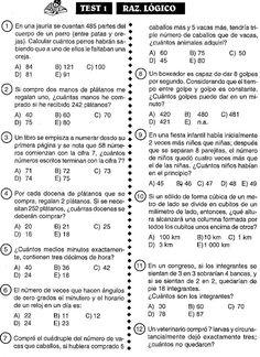 RAZONAMIENTO MATEMÁTICO 100 ejercicioS RESUELTOS DE QUINTO DE ...