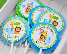 Safari Cupcake Toppers, Safari Birthday Party , Baby Safari, Jungle Safari Baby Shower on Etsy, $10.00