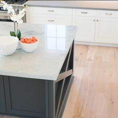 "Quartzite counters in ""sea pearl"" my current favorite. #whiteoak #kendallcharcoal"