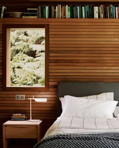 classic wooden wall design with bookshelf and dark beds in modern bedroom design ideas - Wood Wall Design Ideas